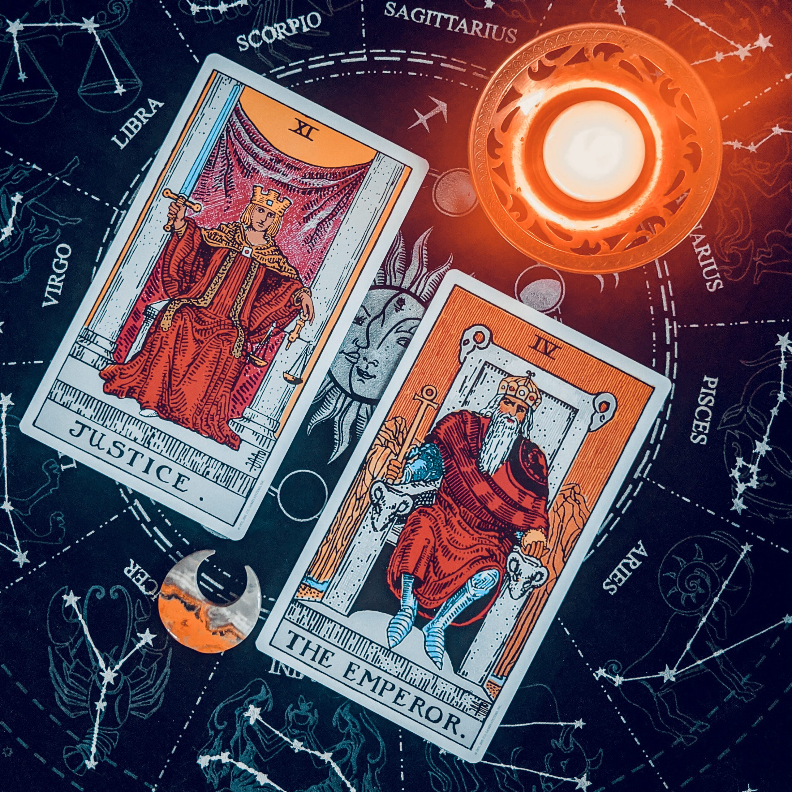 Justice and the Emperor: Exploring the Libra Aries Opposition through Tarot